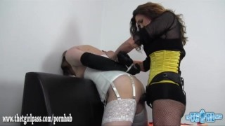 Kinky dom fucks crossdresser sluts face and ass with two big strapon cocks  ass fuck face fuck lingerie dominatrix strapon bdsm femdom masturbate amateur cumshot fetish bound crossdresser adult toys sex toy thetgirlpass