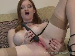 Hot Natural Redhead Masturbates to Big Pulsating Orgasms with Sex Flush