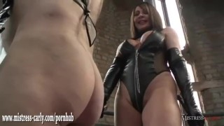 Hot mistress in latex spanks clumsy maid and drops hot wax on his big cock  mistress carly big cock spanking dominatrix bdsm maid femdom amateur punishment fetish milf hardcore kink wax mistress bondage