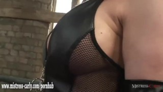 Hot mistress in latex spanks clumsy maid and drops hot wax on his big cock femdom milf hardcore spanking mistress-carly kink dominatrix amateur big-cock wax bdsm punishment mistress bondage fetish maid