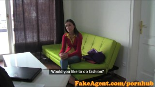FakeAgent Super cute brunette babe gets pussy pounded in casting interview  office sex point of view homemade audition amateur cumshot small tits pov casting young couch brunette reality czech fakeagent interview oral sex