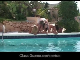 Rich blond boy fucks in his villa three sexy slutty babes