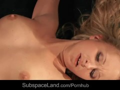 Salacious restrained blonde slut deep drlled with fuck machine