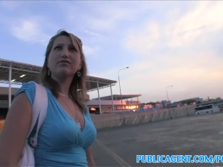 PublicAgent Blonde has sex with stranger in public