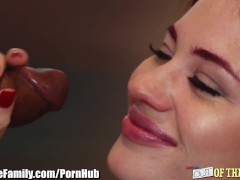 RedHead Sucks her Step-Dads Big Black Cock