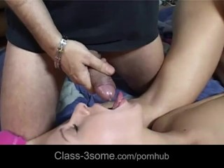 Carla's first blowjob using the dick of her best girlfriend Caroline