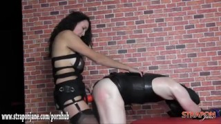Mistress gives tight sweaty latex bitch quick hard fuck with big strapon  bitch strapon slave femdom mom amateur sex-toys fetish ass-fuck hardcore latex mother mistress anal straponjane adult toy
