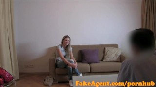 FakeAgent Sporty babe with great physique gets fucked hard before facial audition fakeagent homemade oral sex point of view couch amateur real cumshot office sex pov reality casting interview