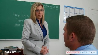 MILF Teacher Sara Jay fuck student  big tits lingerie mom blonde blowjob pov big dick busty stocking pantyhose brunette mother pussy eating fake tits myfirstsexteacher naughtyamerica huge tits