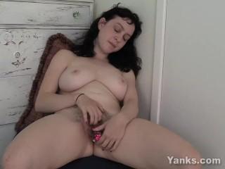 Busty Brunette Dixon Toys Her Hairy Snatch