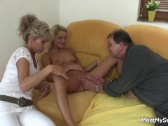 His old mom and dad tricks her into family threesome