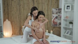 Massage Rooms Two stunning brunettes have an intense lesbian encounter