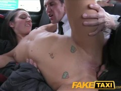 Brunette has taxi backseat threesome