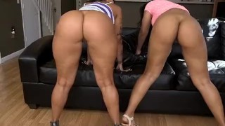 Two round juicy ass latinas Spicy J and Rose Monroe lick and fuck