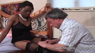 Faceful of black pussy for older white gent  slave boots facesitting ebony cunilingus femdom black amateur tongue ass fetish domination milf kink interracial shesboss rimming