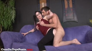 ophelia rain fucks in yoga pants  doggy style big tits glasses blowjob chubby big dick hardcore handjob cock sucking brunette facial yoga pants big boobs pony tails shaved pussy