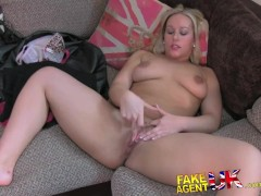 FakeAgentUK Hot petite Scottish girl takes big facial on casting couch