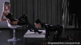 Shiny Latex on Mia and Scarlett  high heels strapon lesbians cunnilingus kink rubber brunette latex stockings pussy eating leotard girl on girl realdoe adult toy straplessdildo latex catsuit