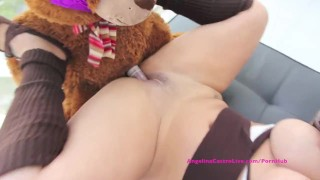 Big Titted Angelina Castro Has Sex with Teddy Bear?!