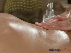 Massage Rooms Teen blonde with perfect body rides cock in sensual encounter