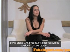 FakeAgent Raven haired babe gets her shaved pussy covered in spunk