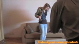 FakeAgent Hot blonde amateur fucks on her period in Casting interview