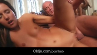 Old man lured for fuck by a nympho girl in her apartament