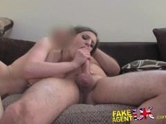 FakeAgentUK Deep throating on casting couch from dirty sexy Brit babe