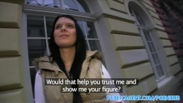PublicAgent Black haired tattoo babe fucks guy in hotel