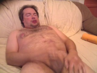 Jacking off, shooting cum on my face and chest. How embarrassing!