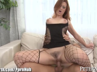 Redhead Karlie Montana Rides Cock in Fishnets
