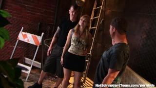 Preview 5 of Teen Slut Bangs 2 Guys In An Alley