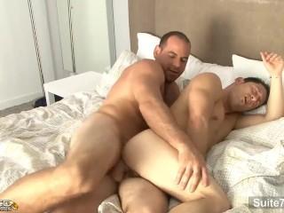 Horny brunette married Ari Sylvio suck and ride gay Girth Brooks's big cock