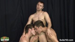 Three seductively jocks Aaron Styles, Damon Audigier and Devon Hunter fucks