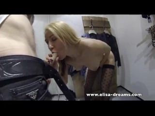 XXX porn - estel-two: Dirty sucking a guy in a fitting room