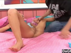 Fucked her pussy and jizzed on her feet