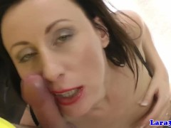 British mature in stockings picks up cyclist for fuck