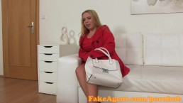 FakeAgent Big busty Blonde give slippery Tit wank in Casting interview
