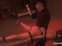 Older Master flogs and whips his restrained sex slave