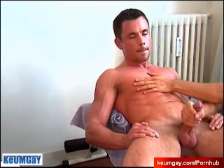 Testing his cock: Thomas serviced by us !