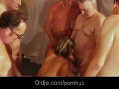 Old school Gang Bang featuring Doris Yvy skinny blonde