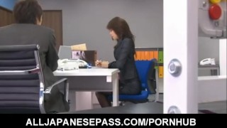 Maki Hojo enjoys dildo on her pussy  milf alljapanesepass mother uniform sex in the office beautiful face sexy stockings mom