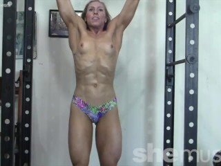 Sexy Blonde Denise Works Her Muscles Topless