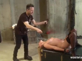 Blonde sex slave is flogged hard before sucking cock
