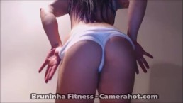 Oiled brazilian ass - Shaking butt with white spandex shorts