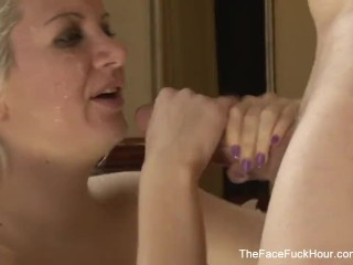 Blonde Slut Gets Face Fucked