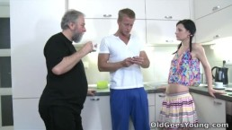 Old Goes Young - Karina kneels before both of her men