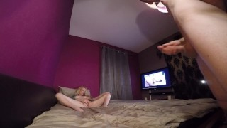 Kitty Kat playing mutual masturbation blowjob cumshot blonde