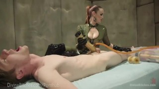Latex Dominatrix Milks Slave Boy  strap on dominatrix bdsm femdom fetish domination toys divinebitches kink edging rubber latex bondage anal denial control