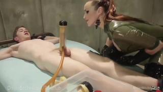 Latex Dominatrix Milks Slave Boy  strap on dominatrix bdsm femdom fetish domination toys kink edging rubber latex bondage anal divinebitches denial control